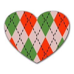 Argyle Pattern Abstract Design Heart Mousepad by LalyLauraFLM