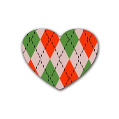 Argyle Pattern Abstract Design Heart Coaster (4 Pack) by LalyLauraFLM
