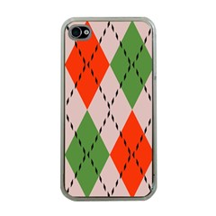Argyle Pattern Abstract Design Apple Iphone 4 Case (clear) by LalyLauraFLM