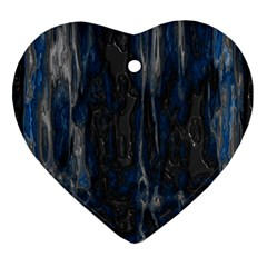 Blue Black Texture Ornament (heart) by LalyLauraFLM