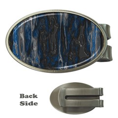 Blue Black Texture Money Clip (oval) by LalyLauraFLM