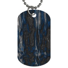 Blue Black Texture Dog Tag (one Side) by LalyLauraFLM