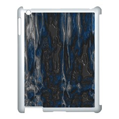 Blue Black Texture Apple Ipad 3/4 Case (white) by LalyLauraFLM