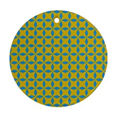 Blue Diamonds Pattern Ornament (round) by LalyLauraFLM