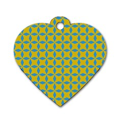 Blue Diamonds Pattern Dog Tag Heart (one Side) by LalyLauraFLM