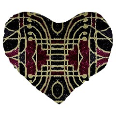 Tribal Style Ornate Grunge Pattern  19  Premium Heart Shape Cushion by dflcprints