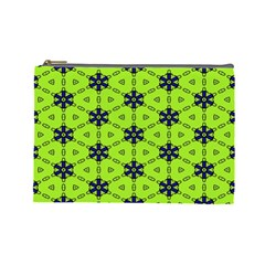 Blue Flowers Pattern Cosmetic Bag (large) by LalyLauraFLM