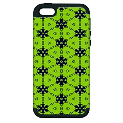 Blue Flowers Pattern Apple Iphone 5 Hardshell Case (pc+silicone) by LalyLauraFLM