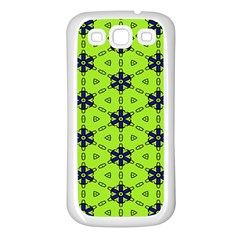 Blue Flowers Pattern Samsung Galaxy S3 Back Case (white) by LalyLauraFLM