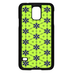 Blue Flowers Pattern Samsung Galaxy S5 Case (black) by LalyLauraFLM
