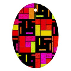 Squares And Rectangles Ornament (oval) by LalyLauraFLM