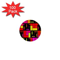 Squares And Rectangles 1  Mini Button (100 Pack)  by LalyLauraFLM