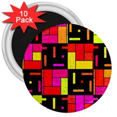 Squares And Rectangles 3  Magnet (10 Pack) by LalyLauraFLM