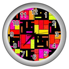 Squares And Rectangles Wall Clock (silver) by LalyLauraFLM
