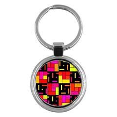 Squares And Rectangles Key Chain (round) by LalyLauraFLM