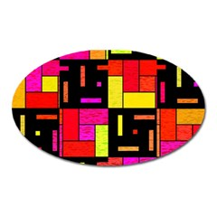 Squares And Rectangles Magnet (oval) by LalyLauraFLM