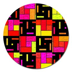 Squares And Rectangles Magnet 5  (round) by LalyLauraFLM