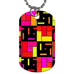 Squares And Rectangles Dog Tag (one Side) by LalyLauraFLM