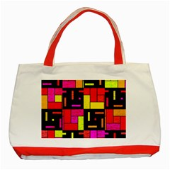 Squares And Rectangles Classic Tote Bag (red) by LalyLauraFLM