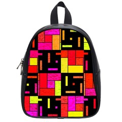 Squares And Rectangles School Bag (small) by LalyLauraFLM