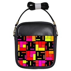 Squares And Rectangles Girls Sling Bag by LalyLauraFLM