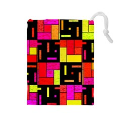 Squares And Rectangles Drawstring Pouch (large) by LalyLauraFLM