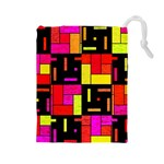 Squares and rectangles Drawstring Pouch (Large) Front