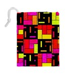 Squares and rectangles Drawstring Pouch (Large) Back