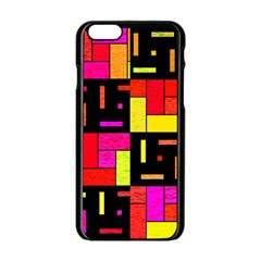 Squares And Rectangles Apple Iphone 6 Black Enamel Case by LalyLauraFLM