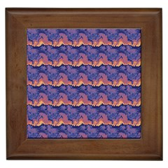 Pink Blue Waves Pattern Framed Tile by LalyLauraFLM