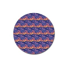Pink Blue Waves Pattern Magnet 3  (round) by LalyLauraFLM