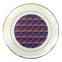 Pink Blue Waves Pattern Porcelain Plate by LalyLauraFLM