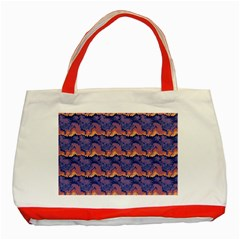 Pink Blue Waves Pattern Classic Tote Bag (red) by LalyLauraFLM