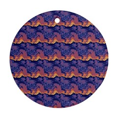 Pink Blue Waves Pattern Round Ornament (two Sides) by LalyLauraFLM