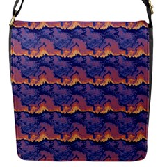 Pink Blue Waves Pattern Flap Closure Messenger Bag (small) by LalyLauraFLM
