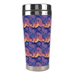 Pink Blue Waves Pattern Stainless Steel Travel Tumbler by LalyLauraFLM