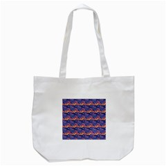 Pink Blue Waves Pattern Tote Bag (white) by LalyLauraFLM