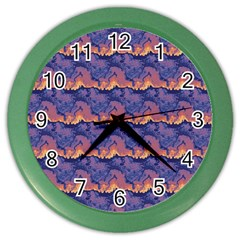 Pink Blue Waves Pattern Color Wall Clock by LalyLauraFLM