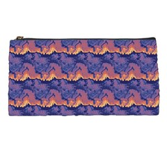 Pink Blue Waves Pattern Pencil Case by LalyLauraFLM