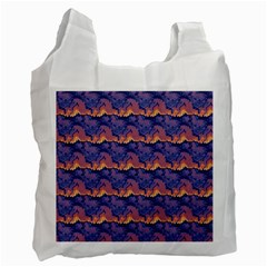 Pink Blue Waves Pattern Recycle Bag (two Side) by LalyLauraFLM