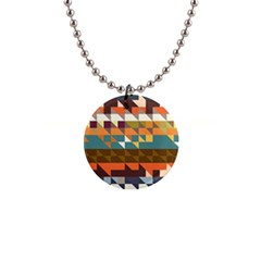 Shapes In Retro Colors 1  Button Necklace by LalyLauraFLM