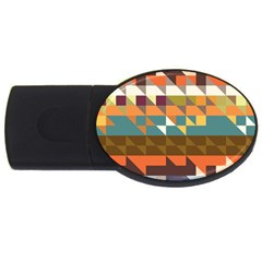 Shapes In Retro Colors Usb Flash Drive Oval (4 Gb) by LalyLauraFLM