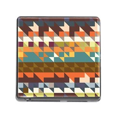 Shapes In Retro Colors Memory Card Reader With Storage (square) by LalyLauraFLM
