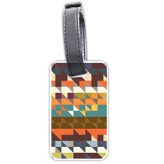 Shapes In Retro Colors Luggage Tag (two Sides) by LalyLauraFLM
