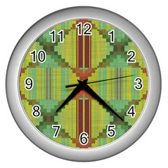 Tribal Shapes Wall Clock (silver) by LalyLauraFLM