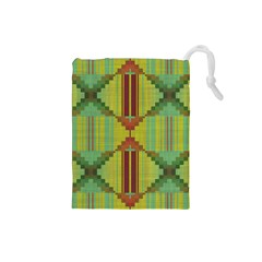 Tribal Shapes Drawstring Pouch (small) by LalyLauraFLM
