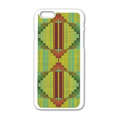 Tribal Shapes Apple Iphone 6 White Enamel Case by LalyLauraFLM