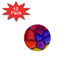 3d Colorful Shapes 1  Mini Button (10 Pack)  by LalyLauraFLM