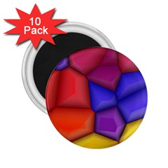 3d Colorful Shapes 2 25  Magnet (10 Pack) by LalyLauraFLM