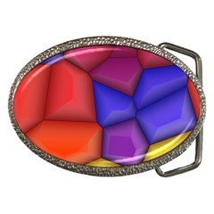 3d Colorful Shapes Belt Buckle by LalyLauraFLM